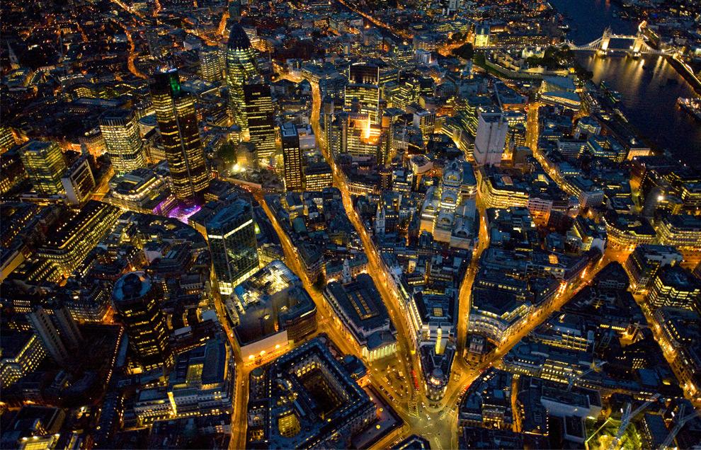 Fotos aereas de Londres por la noche